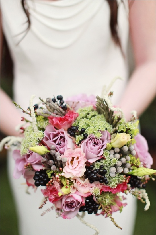 purple, pink & green bouquet