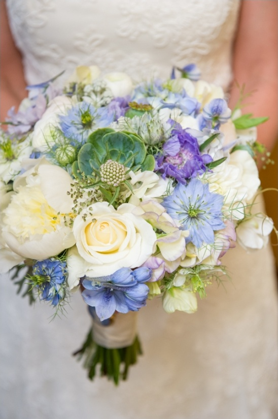 blue and white wedding bouquet by Laughin\' Gal Floral