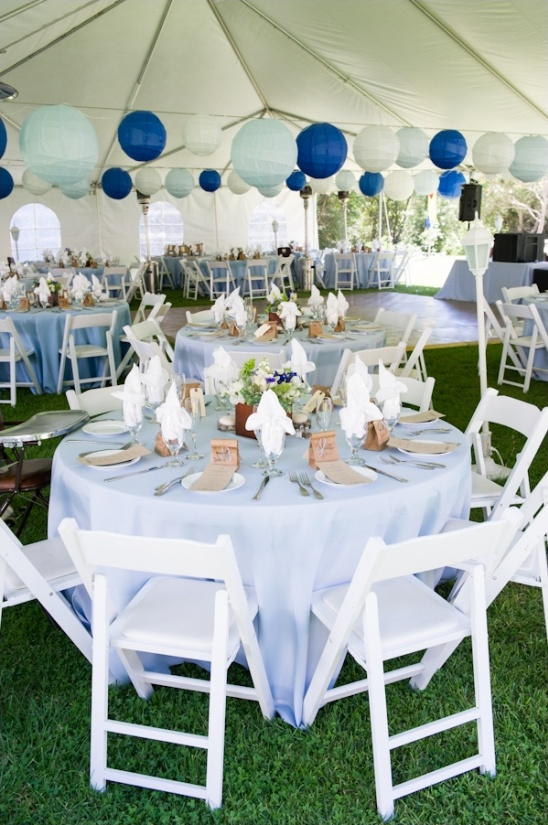 Rustic blue and white wedding for Blue wedding reception ideas