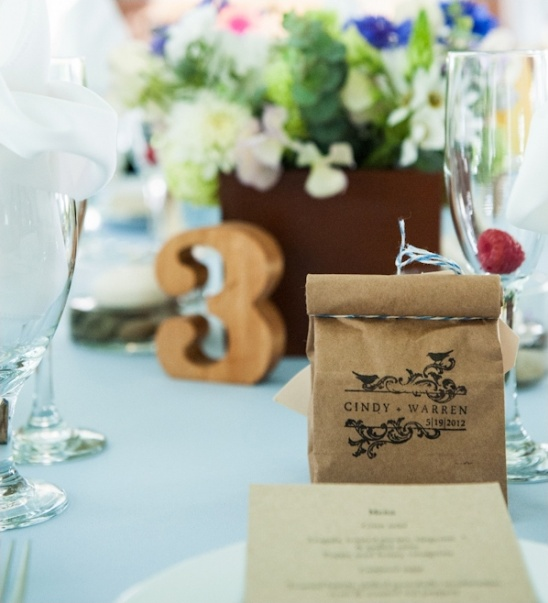 hand stamped bags for wedding favors