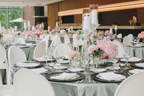 Classic Peach And Gray Wedding