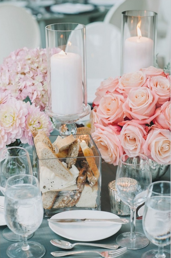 peach and gray table decor ideas