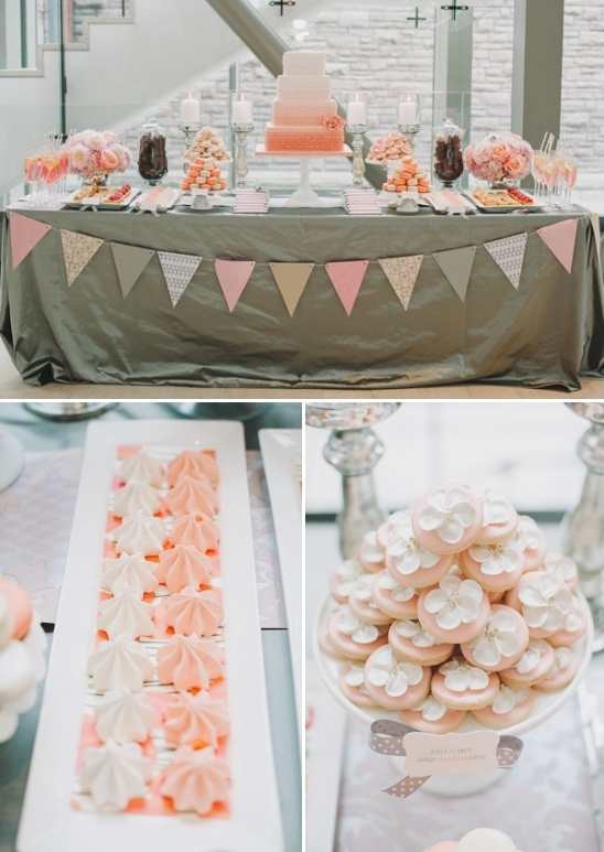 peach and gray cake table ideas