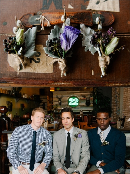 rustic purple boutonnieres by Amber Dickson
