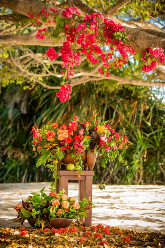colorful florals for wedding ceremony