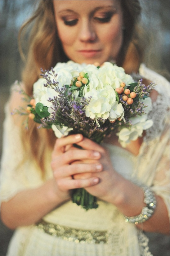 white hydrangea and lavendar wedding bouquet