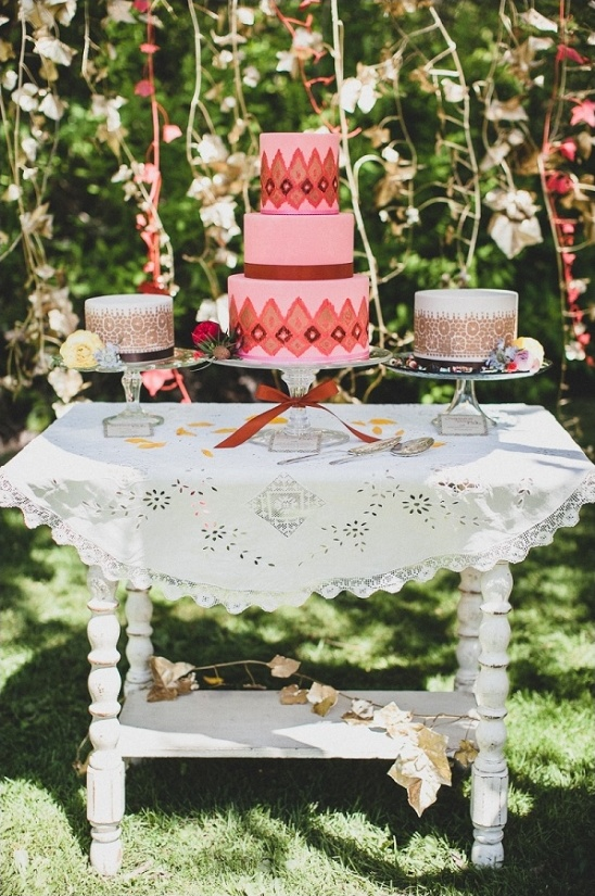 rustic bohemian cake table ideas