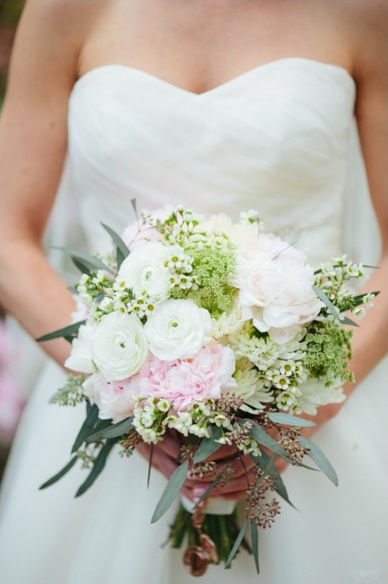 soft green, white and pink bouquet from Designs by Darin