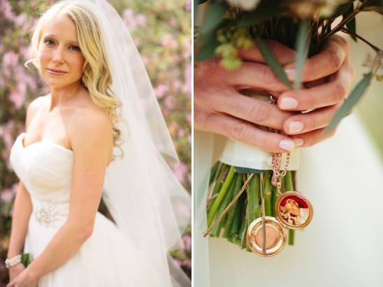 locket attached to bouquet