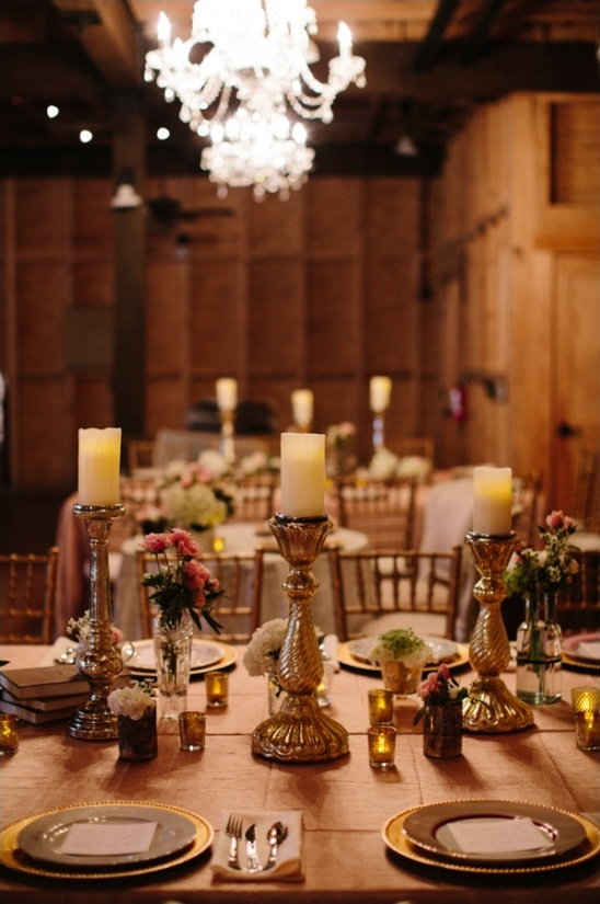 gold reception table decor