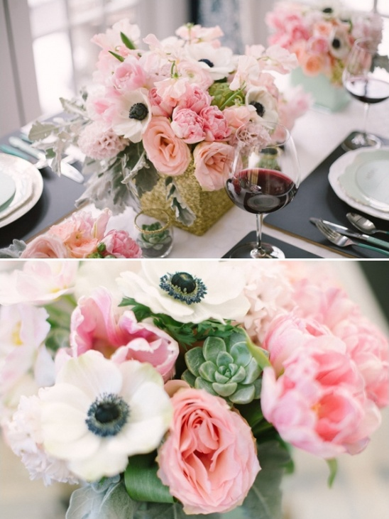 succulent and pink floral arrangements
