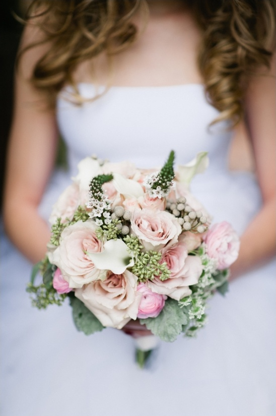 pink and peach wedding bouquet by Sweets and Soirees