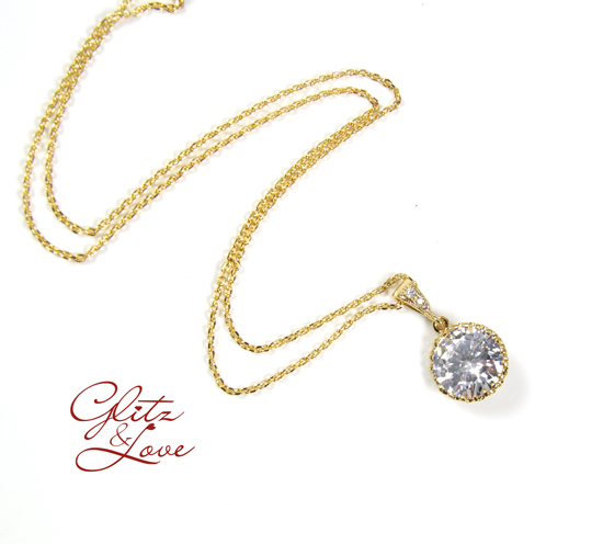 Clear White Large Cubic Zirconia Crystal, Big Diamond necklace, Gold jewelry, Champagne