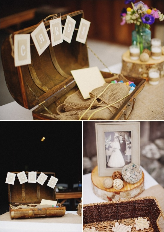 rustic card and guest book table