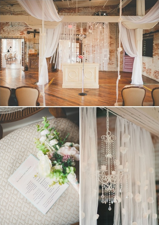 Artsy vintage wedding at the old bag factory indoor ceremony decoration ideas junglespirit