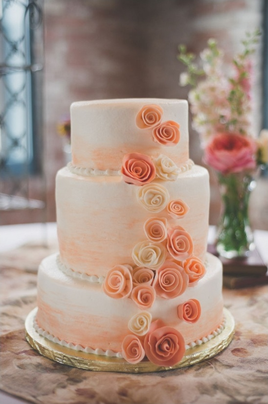 peach and white rose cake by Sweet-Em\'s Cake Shoppe