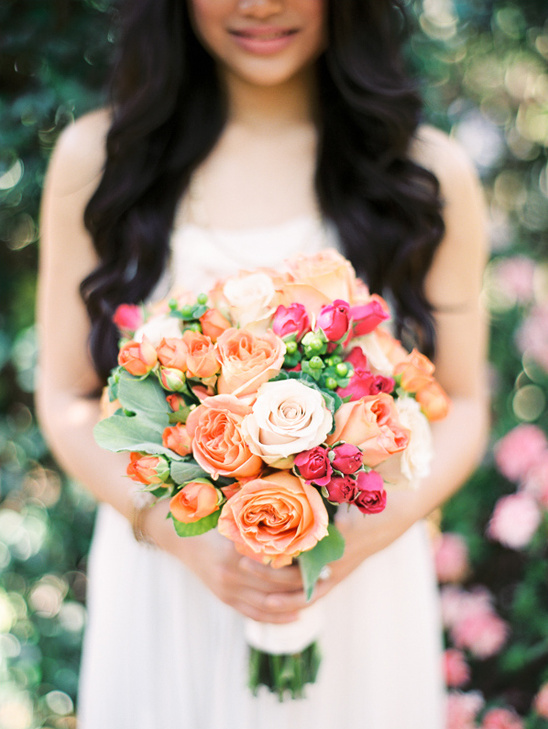 peach and pink rose bouquet by Something Special in Flowers