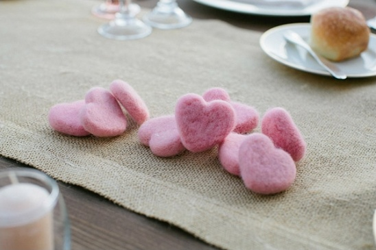 washed wool hearts