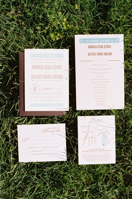 blue and brown wedding invite by Southern Fried Paper