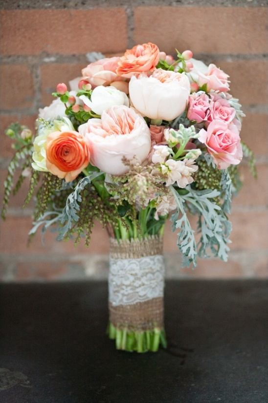 pink and peach wedding bouquet by Fleurs De France