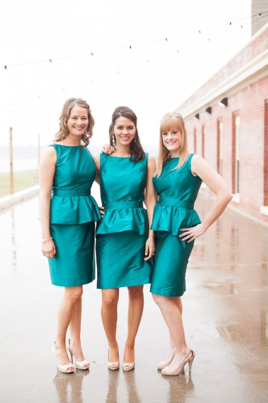teal peplum bridesmaid dresses