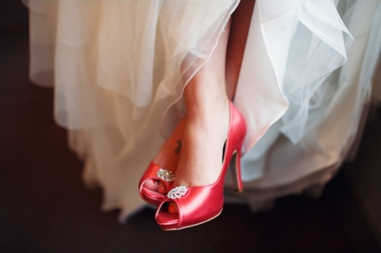 red wedding shoes by Benjamin Walk and dyed by Charlotte\'s Weddings & More