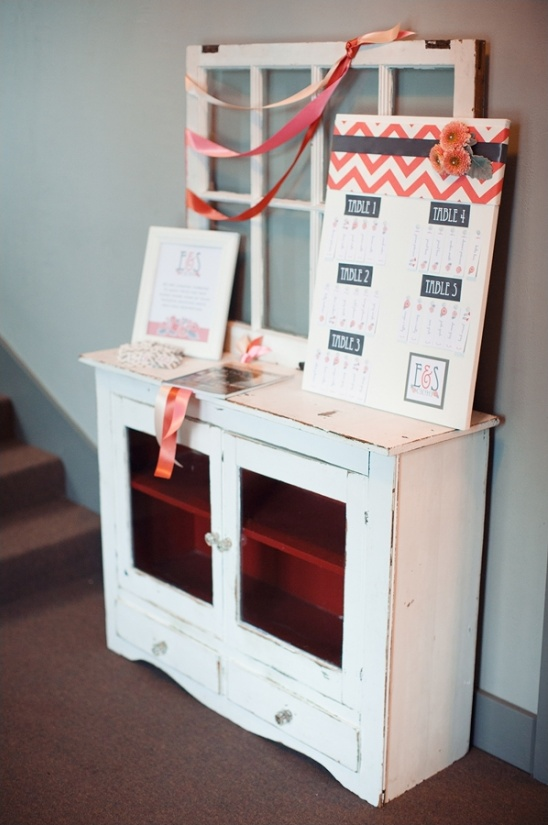 vintage hutch for escort card display