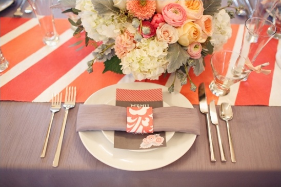 gray and orange place setting ideas