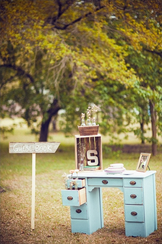 vintage guest book table ideas