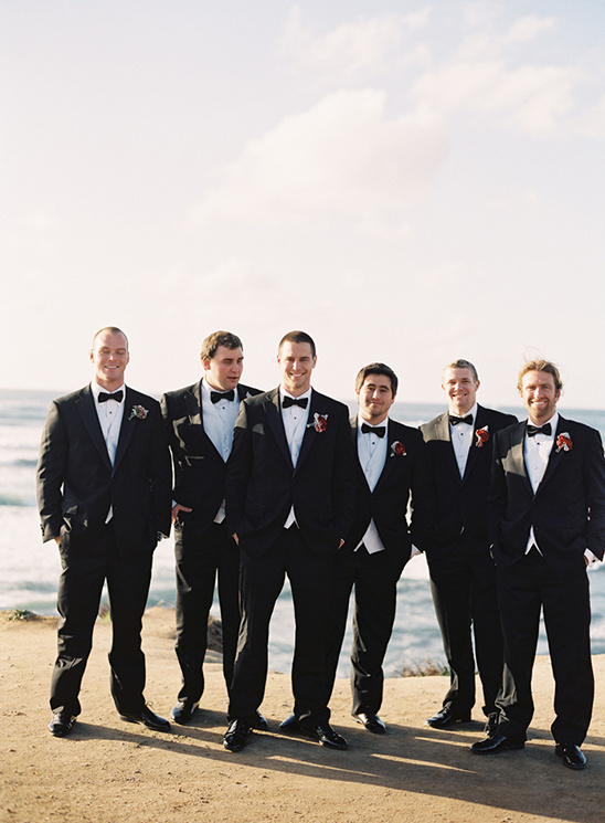 Groomsman in tuxedos
