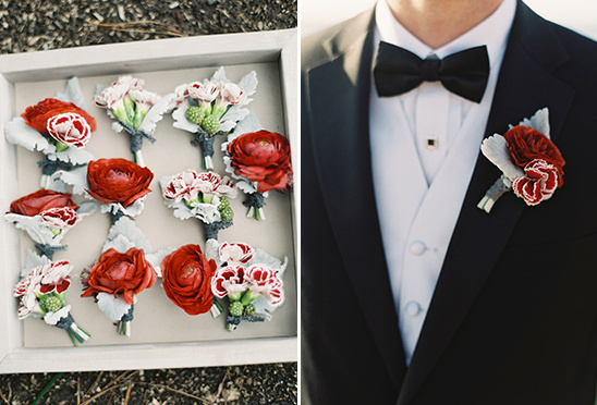 red boutonnieres by Oak and the Owl