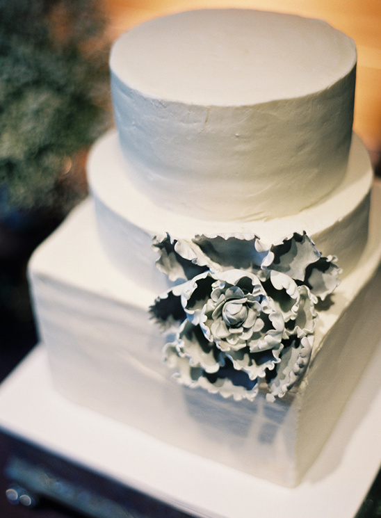 white wedding cake by Plumeria Cake Studio
