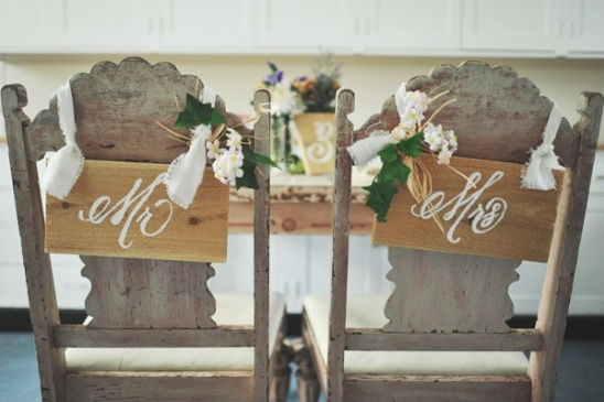 Mr. and Mrs. wood chair signs