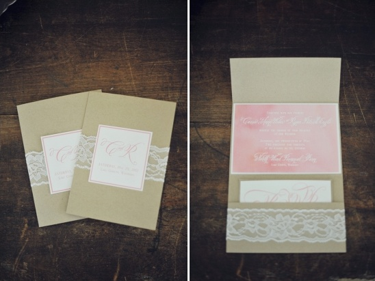 pink and lace wedding invites