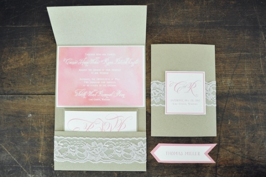 pink wedding invites by The Charm Studio