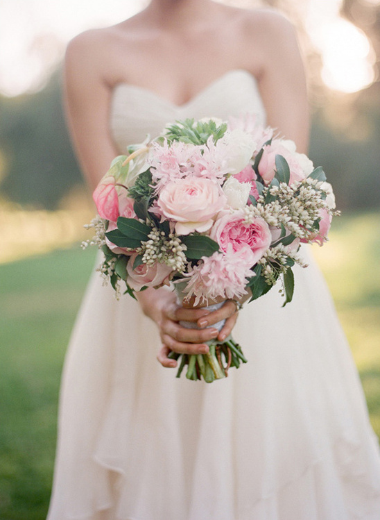 pink wedding bouquet by Oak and the Owl
