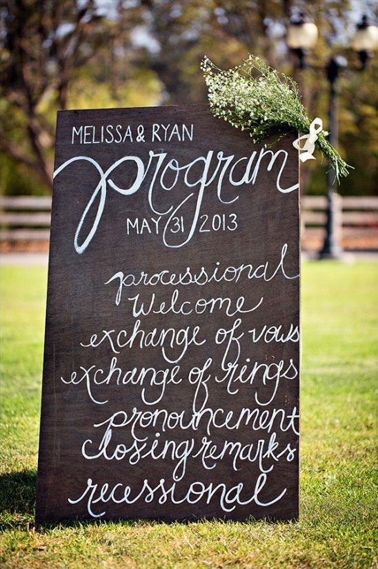 wedding ceremony program sign