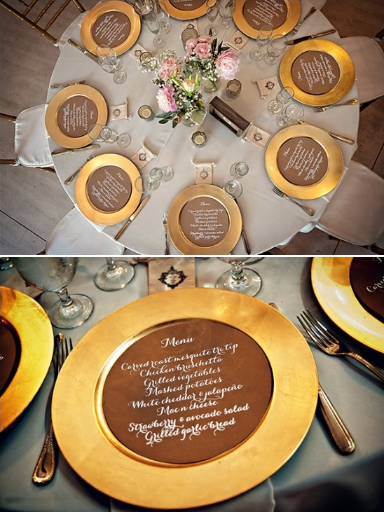 wedding menus on plates