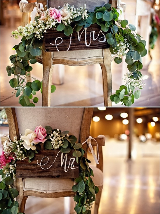 mrs and mr floral chair signs