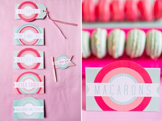 pink and mint dessert labels by Paperknots