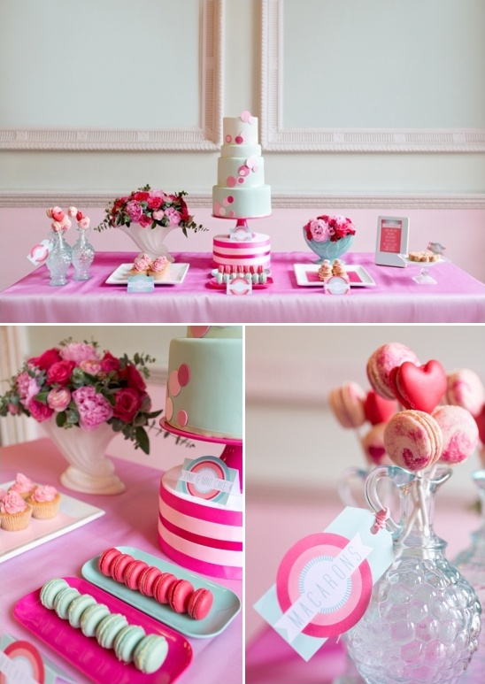 pink and mint cake table ideas
