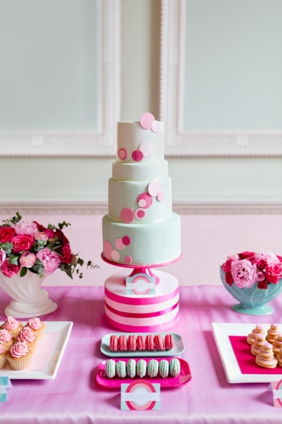 mint and pink wedding cake by The Sugared Saffron Cake Company