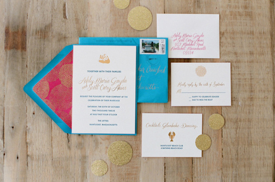 blue, pink and gold wedding invites by Chocolate Creative Design