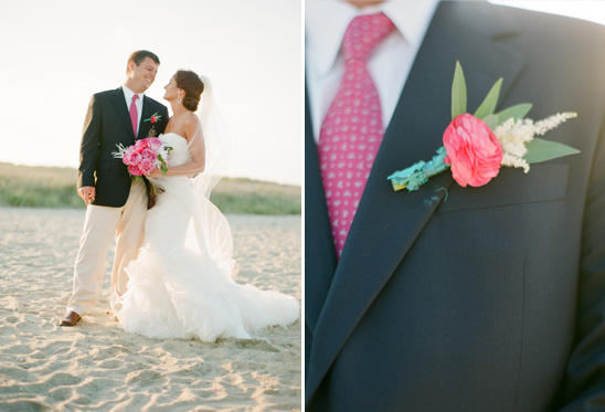 pink boutonniere by Petal Floral Design