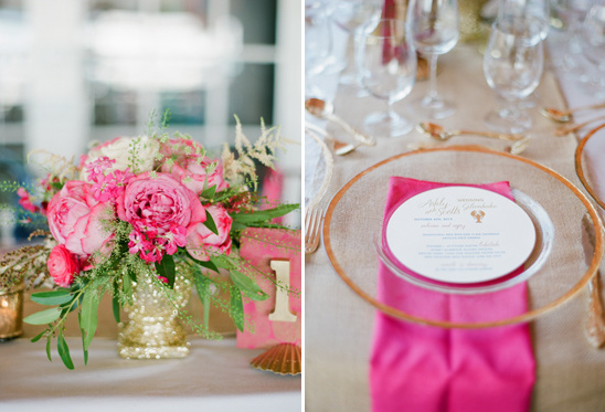 pink and gold table decor ideas by Lil Hoot Parties