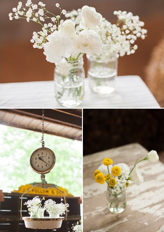 white and yellow wedding florals