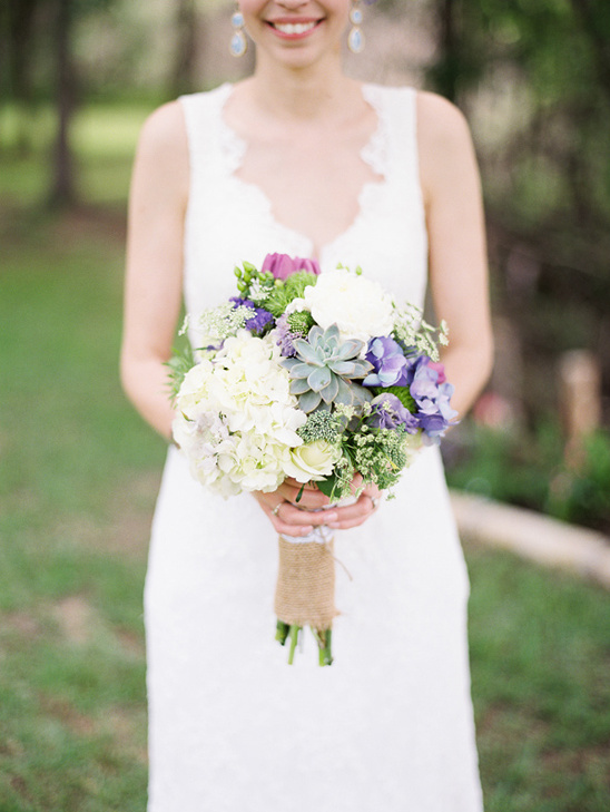 white, purple, pink and succulent bouquet by Cedar Bend Events
