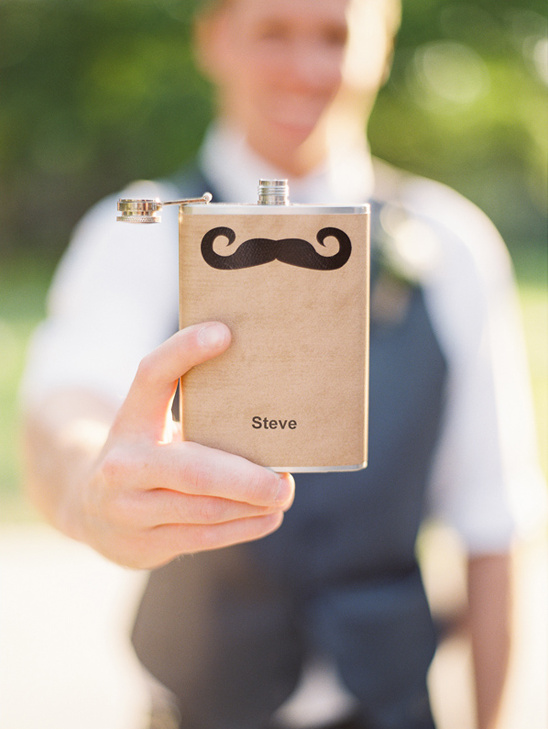 personalized mustache flask groomsman gift