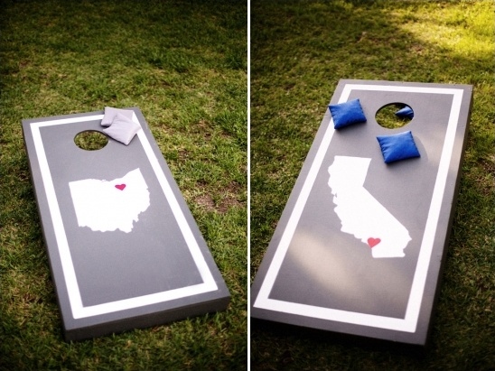 corn hole game with state logos