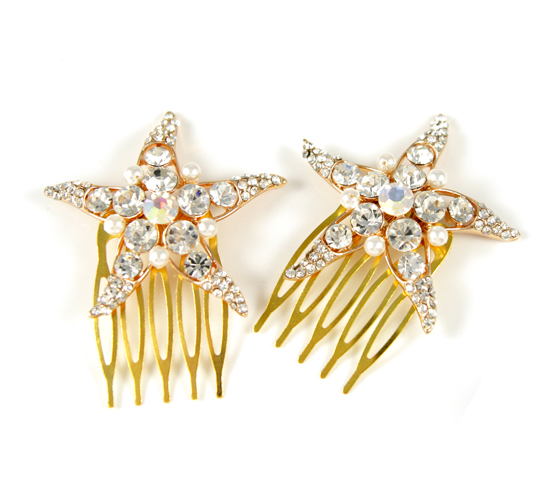 Rose gold starfish hair comb with pearl, beach wedding, pearl, star, pink gold, crystal, sea